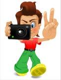 Tecknad filmpojke med kameran Arkivfoto