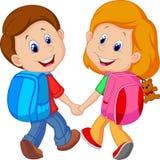 Tecknad filmpojke och flicka med ryggsäckar stock illustrationer