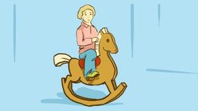 Tecknad filmpojke på en trävagga häst Royaltyfria Foton