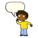 tecknad filmpojke som poserar för foto med anförandebubblan Arkivbild