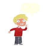 tecknad filmpojke som poserar för foto med anförandebubblan Fotografering för Bildbyråer