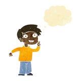 tecknad filmpojke som poserar för foto med tankebubblan Royaltyfria Foton