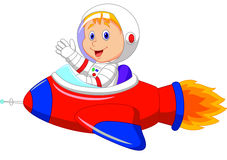Tecknad filmpojkeastronaut i rymdskeppet Arkivbild