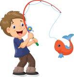 Tecknad filmpojkefiske Fotografering för Bildbyråer
