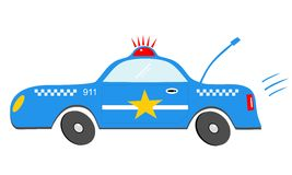 Tecknad filmpolisbil Fotografering för Bildbyråer