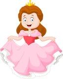 Tecknad filmprinsessa i rosa färgklänning stock illustrationer