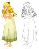 Tecknad filmprinsessan med färgläggningsidan - avbilda för olika sagor vektor illustrationer