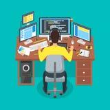 Tecknad filmprogrammerareWrites Code Workspace begrepp vektor stock illustrationer