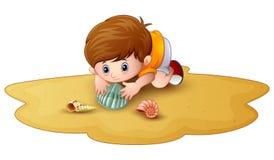 Tecknad filmpys med snäckskal i en sand stock illustrationer