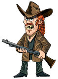 Tecknad filmredneck med ett gevär Royaltyfri Bild