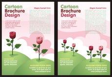 Tecknad filmreklamblad - broschyr med den älskvärda rosblomman royaltyfri illustrationer