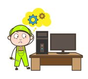 Tecknad filmRepairman Thinking How som reparerar datorvektorbegrepp Arkivbild