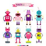 Tecknad filmrobotar ställde in för flickor vektor illustrationer