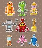 tecknad filmrobotetiketter royaltyfri illustrationer
