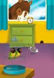 Tecknad filmrum med djur - illustration för barnen Royaltyfria Foton