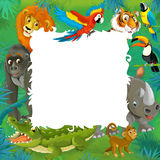 Tecknad filmsafari - djungel - ram Royaltyfri Fotografi