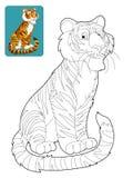 Tecknad filmsafari - färgläggningsida för barnen Arkivbilder
