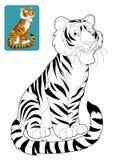 Tecknad filmsafari - färgläggningsida för barnen Arkivbild