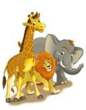 Tecknad filmsafari - illustration för barnen Arkivfoton