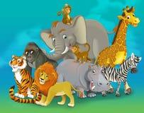 Tecknad filmsafari - illustration för barnen Arkivbilder
