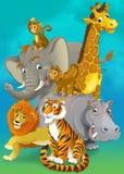 Tecknad filmsafari - illustration för barnen Royaltyfria Foton