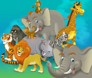 Tecknad filmsafari - illustration för barnen Royaltyfri Fotografi