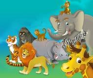 Tecknad filmsafari - illustration för barnen Royaltyfri Foto
