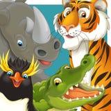 Tecknad filmsafari - illustration för barnen Arkivbild