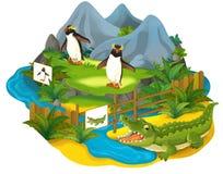 Tecknad filmsafari - illustration för barnen Arkivfoto