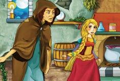 Tecknad filmsaga - illustration för barnen Arkivbilder