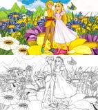 Tecknad filmsagaplats - färgläggningsida - illustration för barnen Royaltyfri Bild