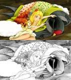 Tecknad filmsagaplats - färgläggningsida - illustration för barnen Royaltyfri Foto