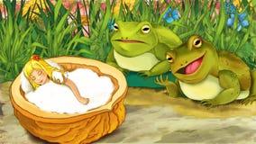 Tecknad filmsagaplats - illustration för barnen Arkivfoto