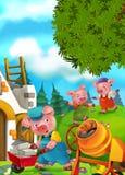 Tecknad filmsagaplats med svin som gör olika svin Royaltyfria Foton