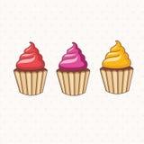 tecknad filmsamling av muffin vektor Arkivfoto