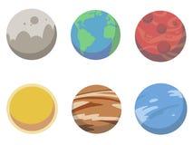 Tecknad filmsamlingen av vektorplanetillustrationer inklusive jord, sol, fördärvar, venusen, jupiter och neptune royaltyfri illustrationer