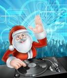 Tecknad filmSanta Christmas Party discjockey stock illustrationer