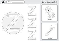Tecknad filmsebra och blixtlås Spårande arbetssedel för alfabet: skriva a Royaltyfri Fotografi
