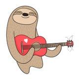 Tecknad filmsengångare som spelar gitarren Fotografering för Bildbyråer
