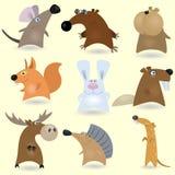 tecknad filmset för 2 djur Royaltyfri Foto