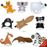 tecknad filmset för 4 djur Arkivbilder