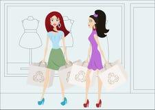 Tecknad filmshoppingflickor med återvinningsbara shoppingpåsar Royaltyfri Fotografi