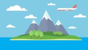 Tecknad filmsikt av ön i havet med berglandskap med den röda flygtrafikflygplanet med träd på kullarna Arkivfoton