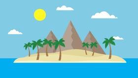 Tecknad filmsikt av en tropisk ö i mitt av ett hav eller ett hav med en sandig strand, palmträd och berg under en blå himmel w Arkivfoto