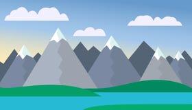 Tecknad filmsikt på vägen till berglandskapet med ett glödhett flyg för luftballong i kullarna med träd och snö på maximumunden Arkivfoton