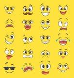 Tecknad filmsinnesrörelser med roliga framsidor med stora ögon och skratt Vektoremoticons på gul bakgrund Royaltyfri Fotografi