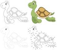 Tecknad filmsköldpadda också vektor för coreldrawillustration Prick som pricker leken för ungar Royaltyfri Bild