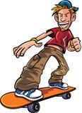 Tecknad filmskateboradåkare på hans skateboard Royaltyfri Bild