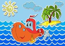 Tecknad filmskepp på havet vektor illustrationer