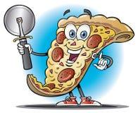 Tecknad filmskiva av pizzainnehav en pizzaskärare Royaltyfri Bild